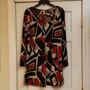Auditions Geometric Print Dress Size Large